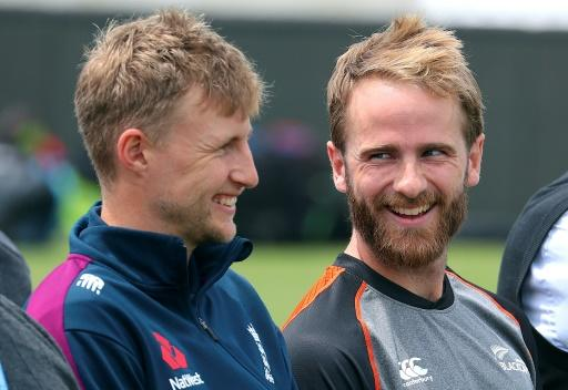 England captain Joe Root (L) will pit his wits against New Zealand's Kane Williamson