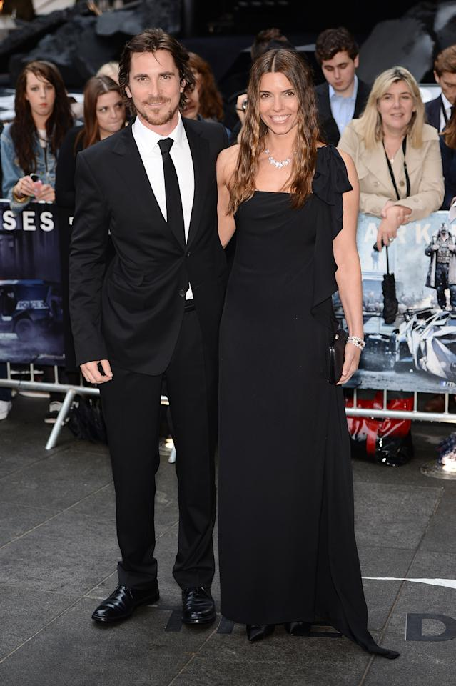 """LONDON, ENGLAND - JULY 18:  Actor Christian Bale and wife Sandra Bale attend European premiere of """"The Dark Knight Rises"""" at Odeon Leicester Square on July 18, 2012 in London, England.  (Photo by Ian Gavan/Getty Images)"""