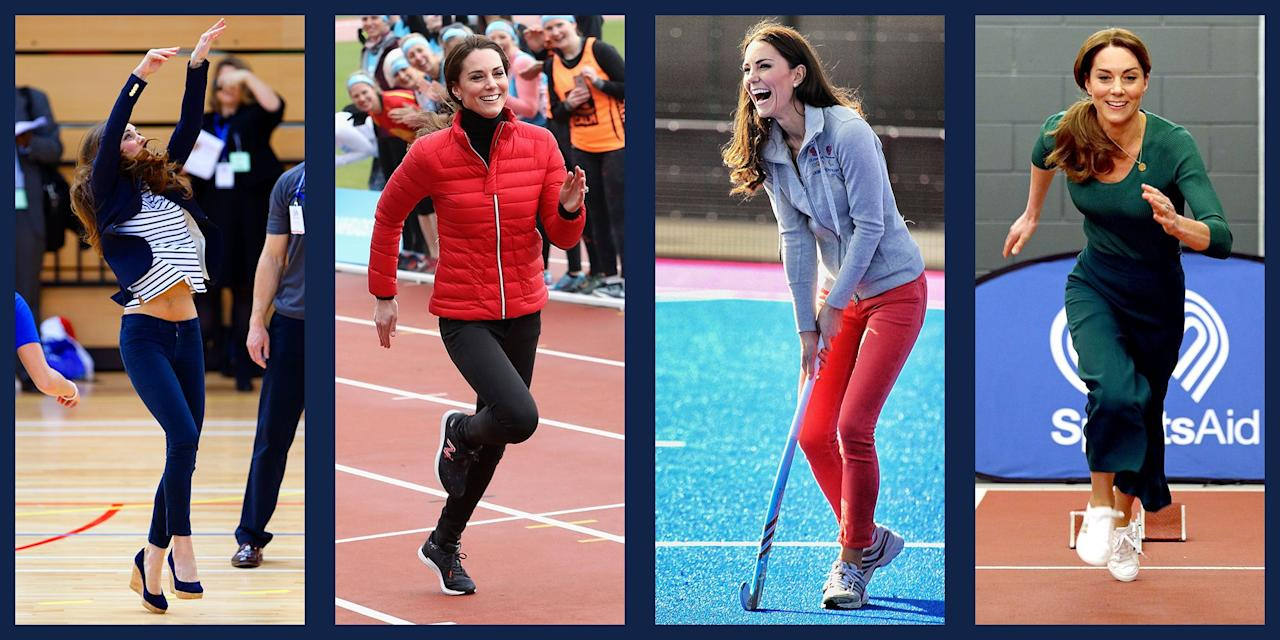 <p>Duchess Kate has always been an athlete. From her days on the St Andrew's school field hockey team to expertly racing boats with Prince William, Kate makes any sport look easy. No matter the situation or her seemingly inappropriate footwear, royal watchers can always count on Kate to participate with a smile. Scroll through for a look at all of the Duchess's sportiest moments. </p>