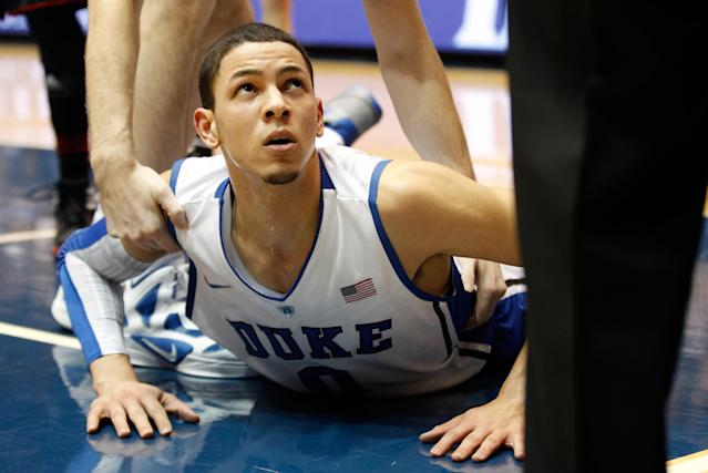 DURHAM, NC - FEBRUARY 16: Austin Rivers #0 of the Duke Blue Devils looks up at a referee after a play against the North Carolina State Wolfpack during their game at Cameron Indoor Stadium on February 16, 2012 in Durham, North Carolina. (Photo by Streeter Lecka/Getty Images)