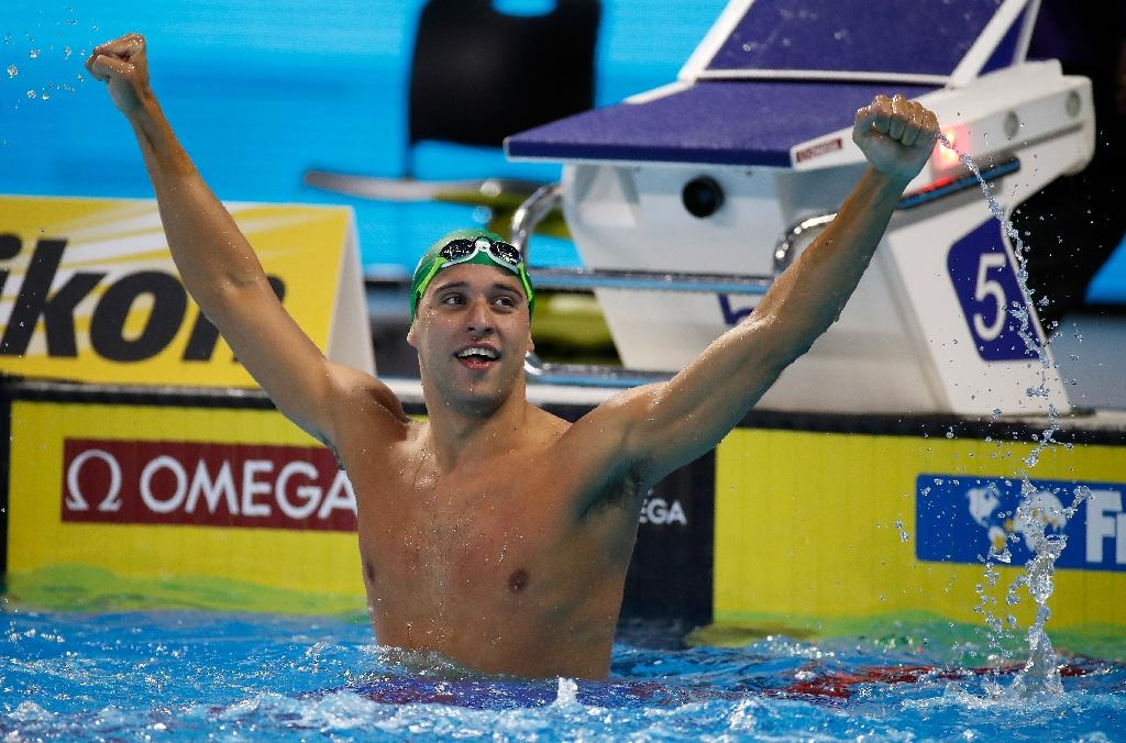 Chad Le Clos of South Africa celebrates after winning the 200m butterfly final on day one of the 13th FINA Short Course Swimming World Championships, at the WFCU Centre in Windsor, Ontario, Canada, on December 6, 2016 (AFP Photo/Gregory Shamus)