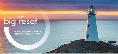 Image: Lighthouse and sunset. Text reads: The big reset. The Report of the Premier's Economic Recovery Team (CNW Group/Unifor)