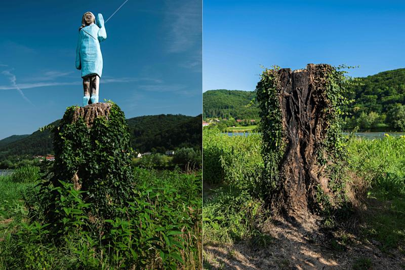 A statue of Melania Trump is seen set in the fields near the town of Sevnica, Slovenia, on July 7, 2020.