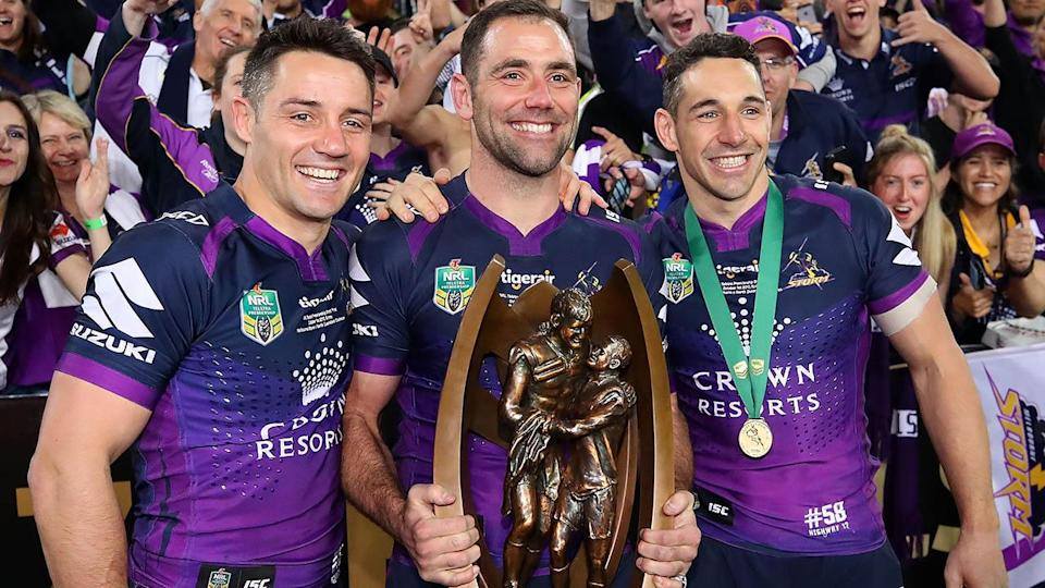 Cooper Cronk, Cameron Smith and Billy Slater in 2017. (Photo by Cameron Spencer/Getty Images)