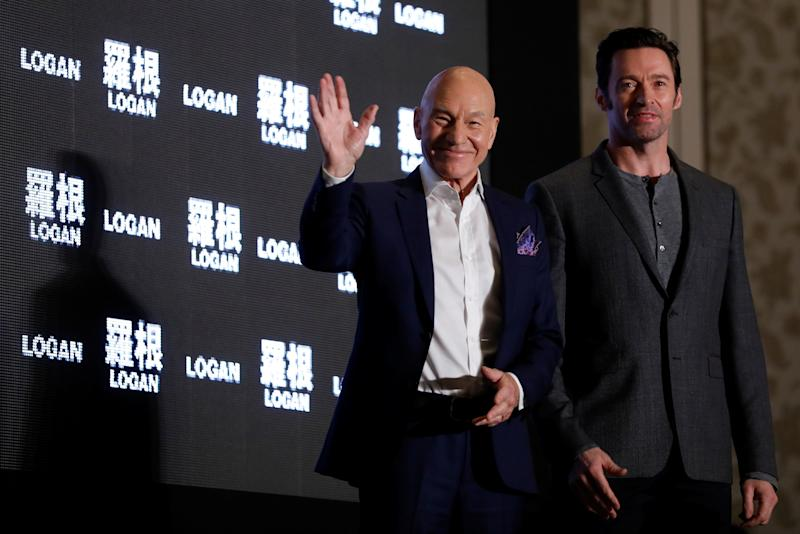 Actors Patrick Stewart (L) and Hugh Jackman attend news conference during Asian premiere of the X-Men series film 'Logan' in Taipei, Taiwan February 28, 2017. REUTERS/Tyrone Siu