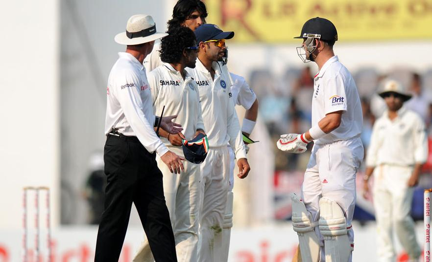 Virat Kohli and Jonathan Trott exchange a few words on Day 4 of the fourth cricket Test between India and England at the Jamtha Stadium in Nagpur, Sunday, December 16, 2012. (c) BCCI