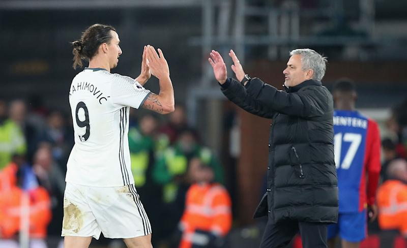 Jose Mourinho (right) shot down any notion he's interested in signing Zlatan Ibrahimovic with Tottenham. (Photo by Matthew Peters/Manchester United via Getty Images)