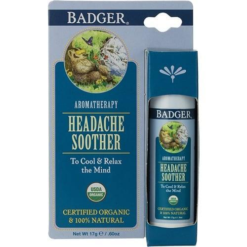 "<p><a href=""https://www.popsugar.com/buy/Badger-Balm-Headache-Soother-581292?p_name=Badger%20Balm%20Headache%20Soother&retailer=badgerbalm.com&pid=581292&price=8&evar1=fit%3Auk&evar9=47543591&evar98=https%3A%2F%2Fwww.popsugar.com%2Ffitness%2Fphoto-gallery%2F47543591%2Fimage%2F47543611%2FBadger-Balm-Headache-Soother&list1=headaches%2Cessential%20oils&prop13=api&pdata=1"" class=""link rapid-noclick-resp"" rel=""nofollow noopener"" target=""_blank"" data-ylk=""slk:Badger Balm Headache Soother"">Badger Balm Headache Soother</a> ($8) is a solid aromatherapy blend of cooling, refreshing, and calming menthol crystals, eucalyptus, peppermint, and lavender, plus mandarin for a little mood boost. Meant to be applied to pulse points, the smooth and creamy formula works to soften the skin, too.</p>"