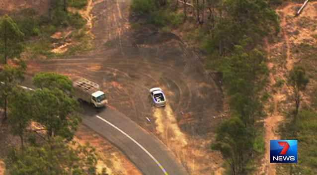 The driver of the silver ute led police on a lengthy chase west of Brisbane. Photo: 7News.