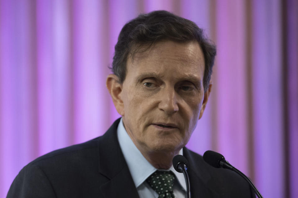 Rio de Janeiro's Mayor, Marcelo Crivella attend a ceremony at the Federation of Industries of Rio de Janeiro (FIRJAN) headquarters in Rio de Janeiro on May 20, 2019. (Photo by MAURO PIMENTEL / AFP)        (Photo credit should read MAURO PIMENTEL/AFP via Getty Images)