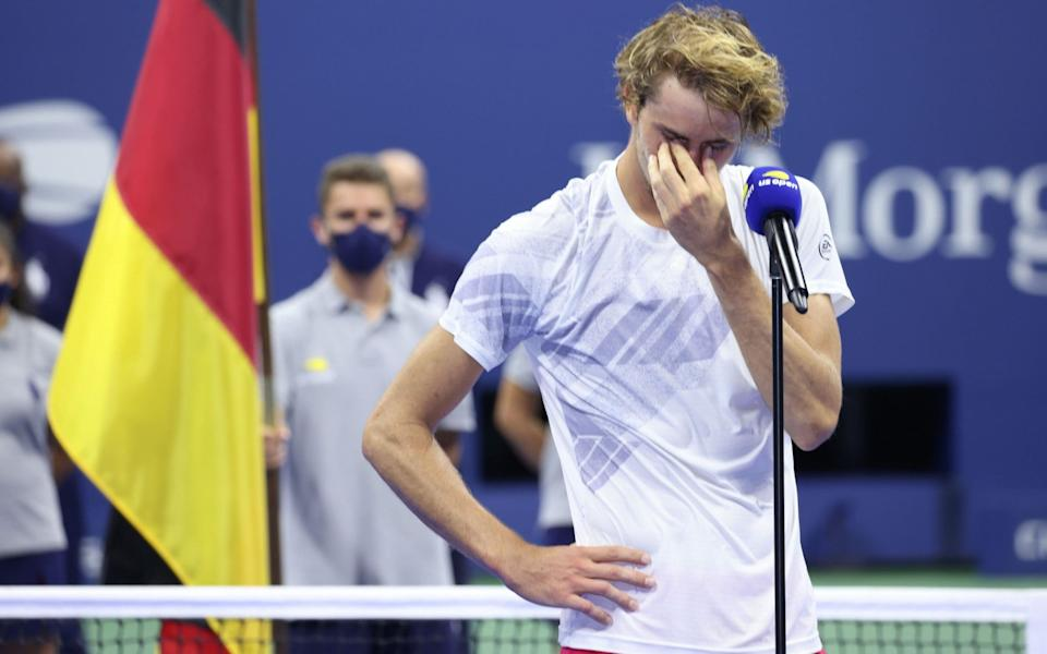 Alexander Zverev of Germany reacts during the trophy ceremony - JUSTIN LANE/EPA-EFE/Shutterstock