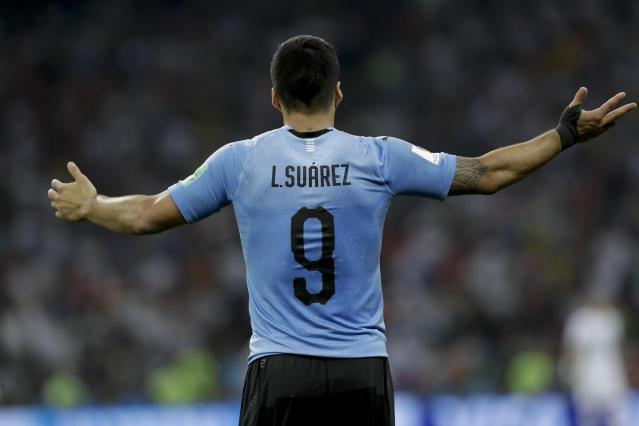 Uruguay's Luis Suarez reacts during the round of 16 match between Uruguay and Portugal at the 2018 soccer World Cup at the Fisht Stadium in Sochi, Russia, Saturday, June 30, 2018. (AP Photo/Andre Penner)
