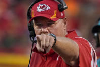 Kansas City Chiefs head coach Andy Reid watches from the sidelines during the first half of an NFL football game against the Minnesota Vikings Friday, Aug. 27, 2021, in Kansas City, Mo. (AP Photo/Ed Zurga)