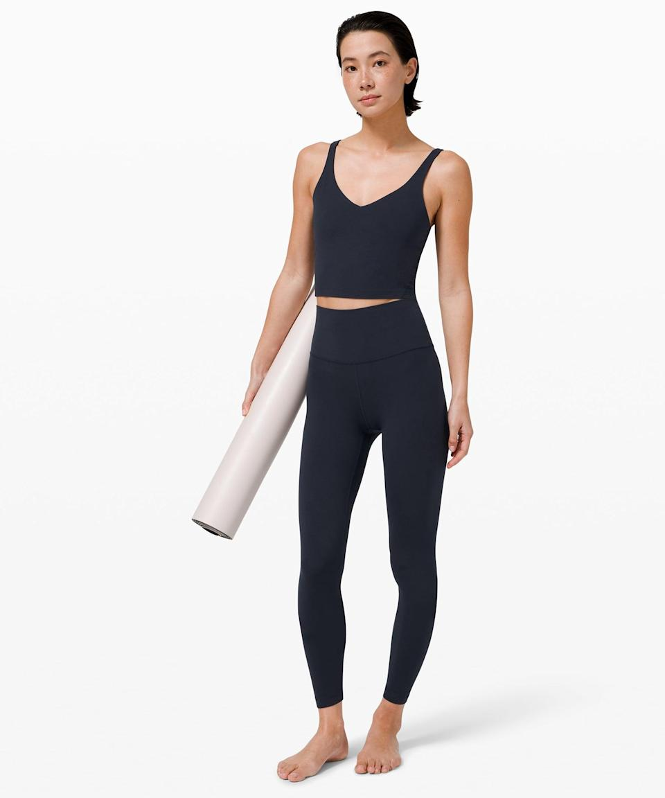 <p>The <span>Lululemon Align Tank</span> ($58) and <span>Align Pants</span> ($98) are the cult-favorite set you should start with. It's so comfortable and flattering, and we love the navy.</p>