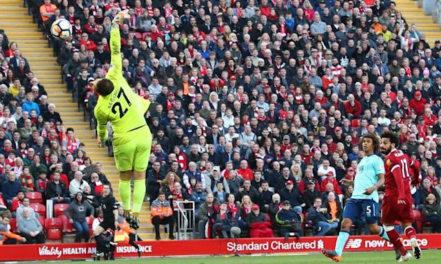 "<span class=""element-image__caption"">Mohamed Salah scores Liverpool's second goal against Bournemouth to take his Premier League tally this season to 30.</span> <span class=""element-image__credit"">Photograph: Clive Brunskill/Getty Images</span>"