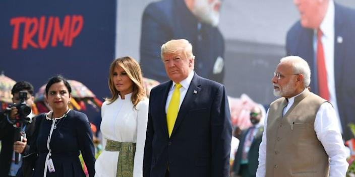 From left to right: US First Lady Melania Trump (second-left), President Donald Trump, and Indian Prime Minister Narendra Modiat Sardar Vallabhbhai Patel International Airport in Ahmedabad on February 24, 2020.