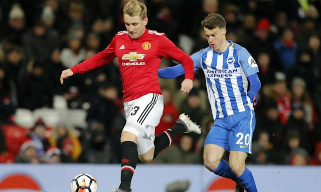 Luke Shaw in action during Manchester United's FA Cup quarter-final against Brighton & Hove Albion.