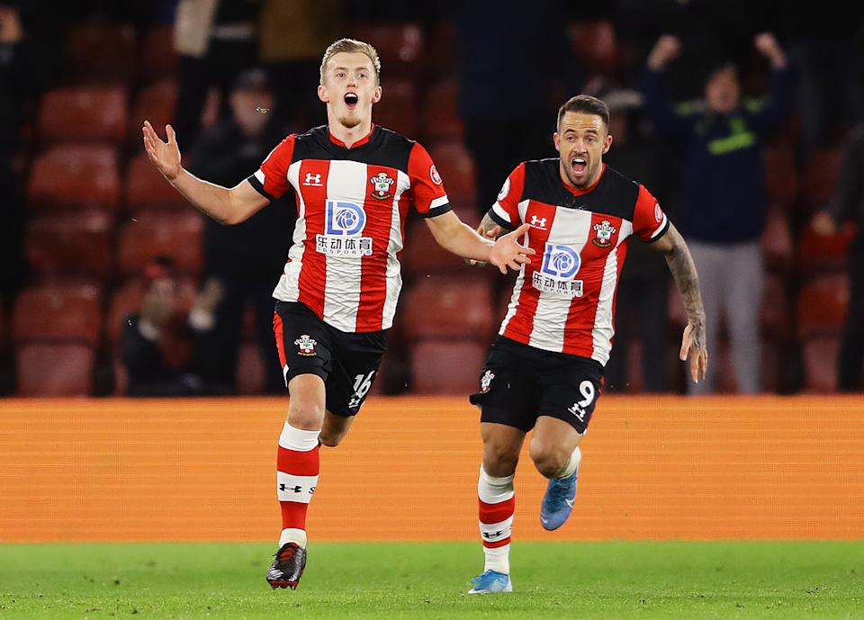 SOUTHAMPTON, ENGLAND - NOVEMBER 30:  James Ward-Prowse of Southampton celebrates after scoring his team's second goal during the Premier League match between Southampton FC and Watford FC at St Mary's Stadium on November 30, 2019 in Southampton, United Kingdom. (Photo by Richard Heathcote/Getty Images)