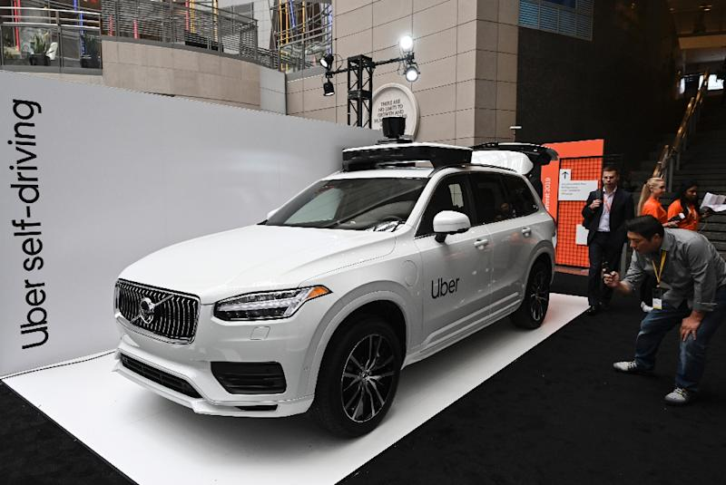 Uber unveiled its newest autonomous car produced by Volvo at the Uber Elevate Summit in Washington (AFP Photo/EVA HAMBACH)