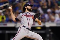 Atlanta Braves starting pitcher Ian Anderson winds up during the first inning of the second baseball game of a doubleheader against the New York Mets, Monday, June 21, 2021, in New York. (AP Photo/Kathy Willens)