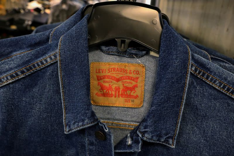 FILE PHOTO: Levi's denim jackets hang in the Levi Strauss store at Macy's Department store in New York