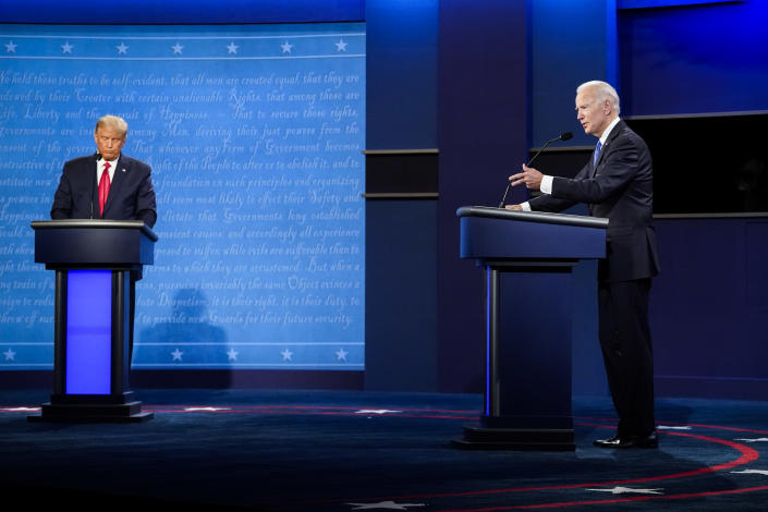 President Donald J. Trump and Democratic presidential candidate Joe Biden participate in the final Presidential debate on the campus of Belmont University on Thursday, Oct 22, 2020 in Nashville, TN. (Jabin Botsford/The Washington Post via Getty Images)