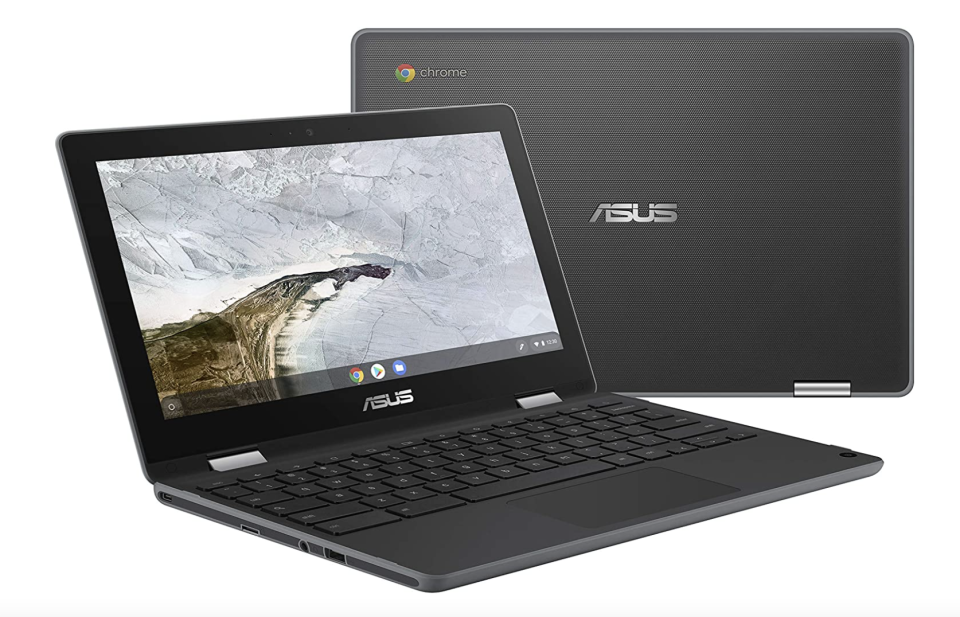 open Asus 2-in-1 Chromebook Flip with closed laptop behind it (Photo via Amazon)