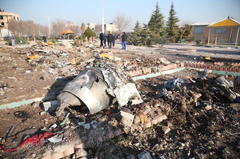 Debris of a plane belonging to Ukraine International Airlines, that crashed after taking off from Iran's Imam Khomeini airport, is seen on the outskirts of Tehran