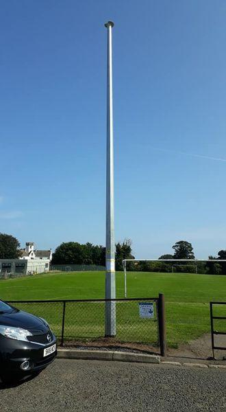 The telecoms mast appeared in the playing fields without warning (West Barns Community Council)