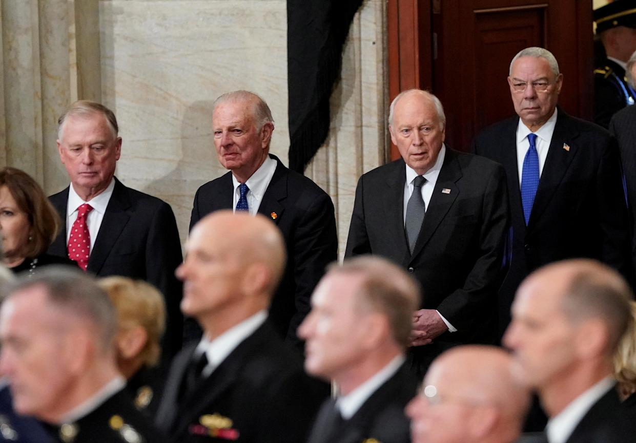 Former Vice President Dan Quayle, former Secretary of State James Baker, former Vice President Dick Cheney, and former Secretary of State Colin Powell arrive at the Capitol in Washington to attend services of former President George H.W. Bush, Monday, Dec. 3, 2018. (Photo: Pablo Martinez Monsivais/Pool via Reuters)