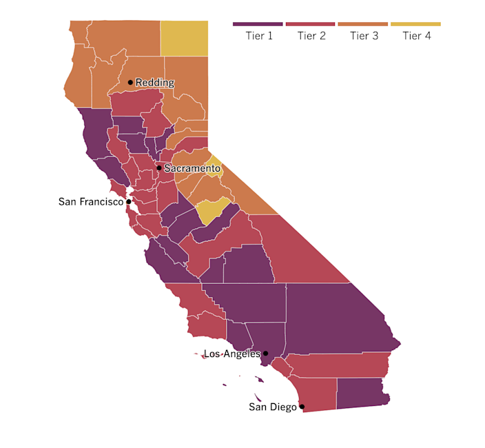 A map of California showing what tiers counties have been assigned based on their local levels of coronavirus risk.