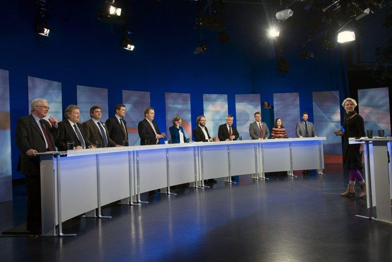 Candidates in the general elections take part in a TV debate on the eve of voting in Reykjavík, Iceland on April 26, 2013. Iceland's centre-right opposition declared victory early Sunday in parliamentary elections, as voters punished the incumbent leftist government for harsh austerity measures during its four years at the helm