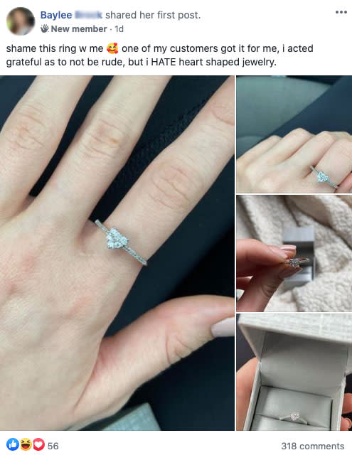 A woman has sparked a huge debate online after revealing she 'hates' the ring she was gifted. Photo: Facebook (supplied).