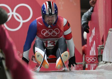 Feb 10, 2018; Pyeongchang, South Korea; Chris Mazdzer (USA) competes in the luge single during the Pyeongchang 2018 Olympic Winter Games at Olympic Sliding Centre. Mandatory Credit: Eric Seals-USA TODAY Sports