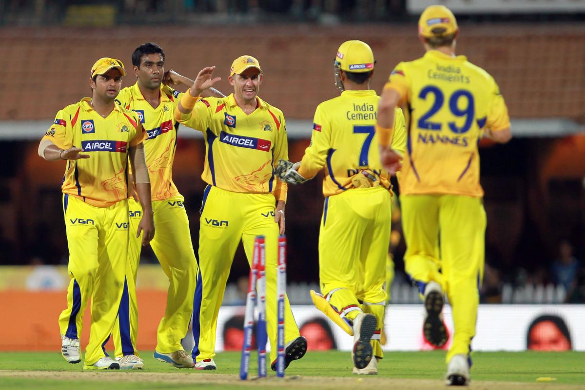CSK players celebrate the wicket of Mayank Agarwal during match 16 of the Pepsi Indian Premier League between The Chennai Superkings and the Royal Challengers Bangalore held at the MA Chidambaram Stadiumin Chennai on the 13th April 2013. Photo by Jacques Rossouw-IPL-SPORTZPICS   .. .Use of this image is subject to the terms and conditions as outlined by the BCCI. These terms can be found by following this link:..https://ec.yimg.com/ec?url=http%3a%2f%2fwww.sportzpics.co.za%2fimage%2fI0000SoRagM2cIEc&t=1503433926&sig=wAUc0Y8tR4MUzVFzmPv4qA--~D