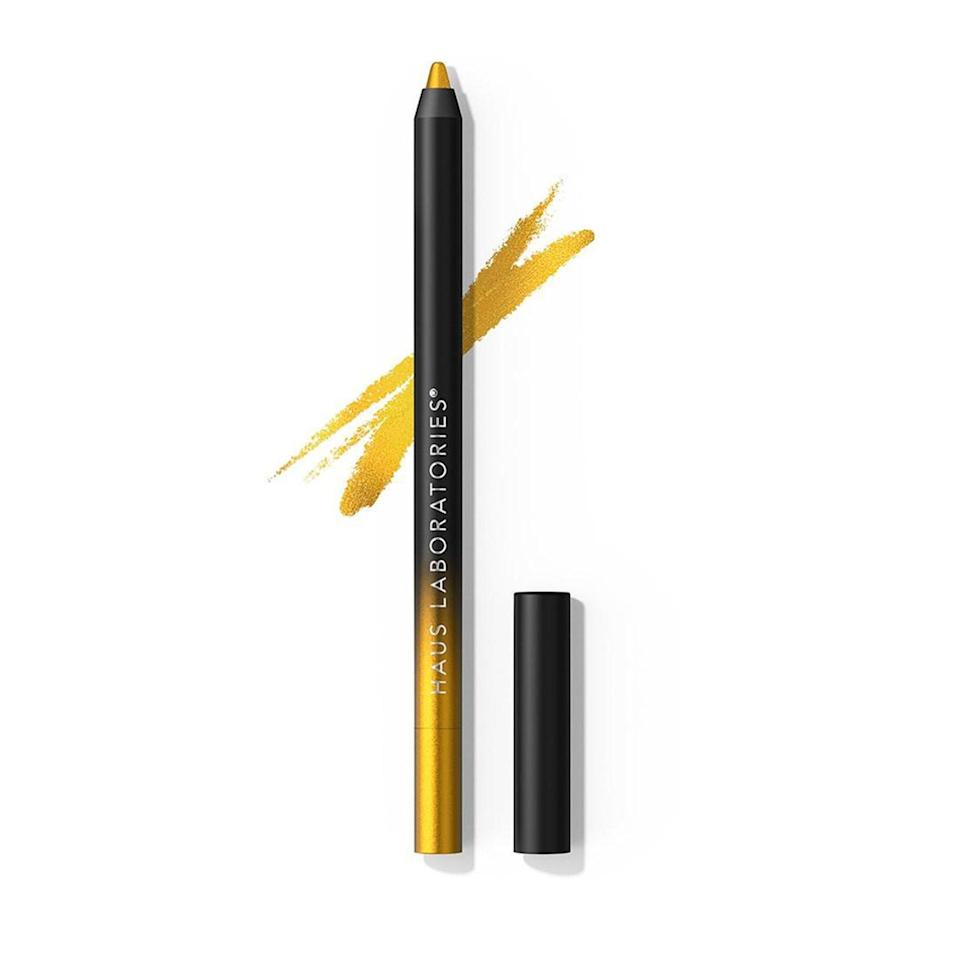 """<p>Medhin recommends Lady Gaga's own <a href=""""https://www.allure.com/story/lady-gaga-haus-laboratories-eye-dentify-gel-pencil-eyeliner-review?mbid=synd_yahoo_rss"""" rel=""""nofollow noopener"""" target=""""_blank"""" data-ylk=""""slk:Haus Labs Eye-Dentify Gel Pencil Eyeliner"""" class=""""link rapid-noclick-resp"""">Haus Labs Eye-Dentify Gel Pencil Eyeliner</a> with its matte and metallic finishes. She's a big fan of the stunning violet Pride and baby blue Priscilla shades. The pencil has 10 other beautiful hues you can draw with.</p> <p>Lovers of winged liner can combine Empire (shimmery emerald green), Priscilla, and Aura (white) or another three shades together for a dramatic, <a href=""""https://www.instagram.com/p/CNVs2dlFVrZ/"""" rel=""""nofollow noopener"""" target=""""_blank"""" data-ylk=""""slk:multi-colored cat-eye"""" class=""""link rapid-noclick-resp"""">multi-colored cat-eye</a> that stretches to the temples. For more advanced beauty enthusiasts, try a star- or heart-shaped design with four different shades (perhaps shamrock green Grime, hunter green Hunted, gold Royale, and Empire) that sit on the side of the face. </p>"""