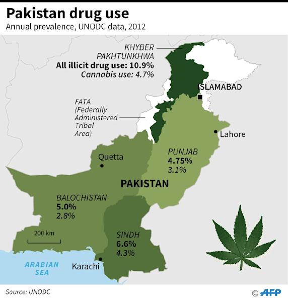 Map showing annual prevalence of drug use in Pakistan. (AFP Photo/Laurence CHU )