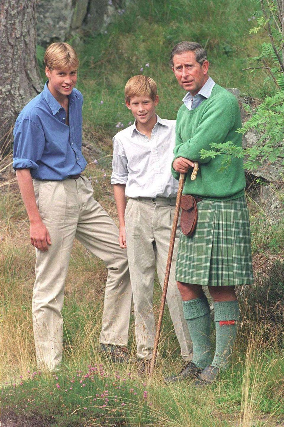 <p>Harry smiles for photographers with Prince William and Prince Charles in Balmoral, Scotland. </p>