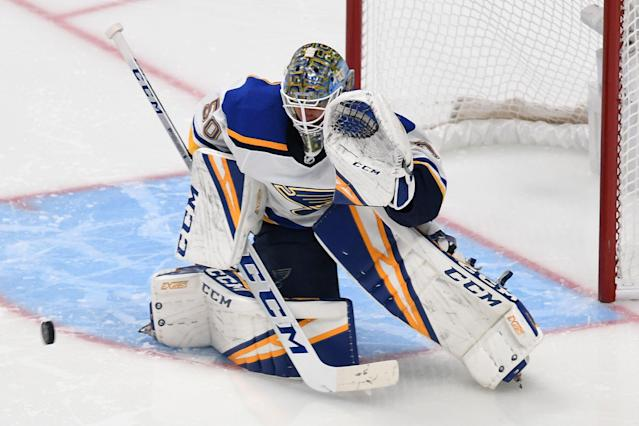 Binnington stopped 75 of 77 shots (.974%) versus the Sharks over the last three games of the WCF. (Getty)