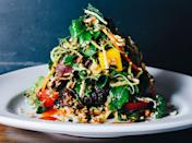"""This is no simple salad: It's a multicourse meal on a plate. Its dramatic presentation is part of the allure. <a href=""""https://www.bonappetit.com/recipe/thai-steak-and-noodle-salad?mbid=synd_yahoo_rss"""" rel=""""nofollow noopener"""" target=""""_blank"""" data-ylk=""""slk:See recipe."""" class=""""link rapid-noclick-resp"""">See recipe.</a>"""