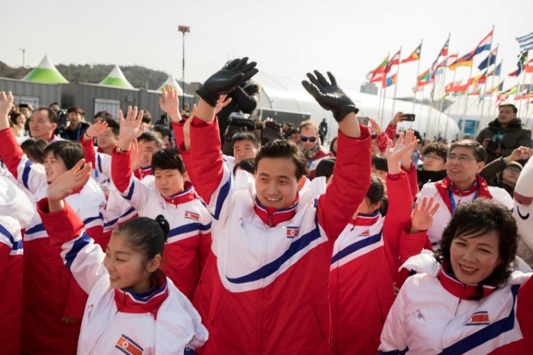 North Korean athletes arrive at the Olympic Village in Gangneung on February 8, 2018, ahead of the Pyeongchang 2018 Winter Olympic Games
