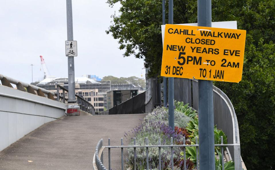 A sign warning of closures on New Years Eve on the Cahill Expressway in Sydney, Australia. New South Wales.