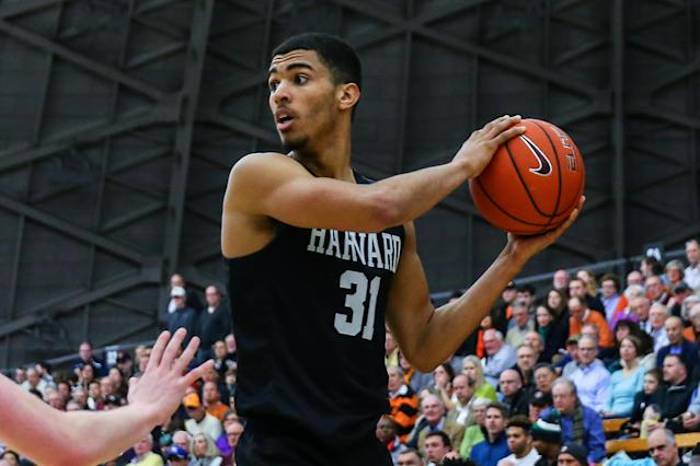 Former Harvard Crimson and current Ohio State forward Seth Towns was detained during a protest in Columbus, Ohio. (Rich Graessle/Icon Sportswire via Getty Images)
