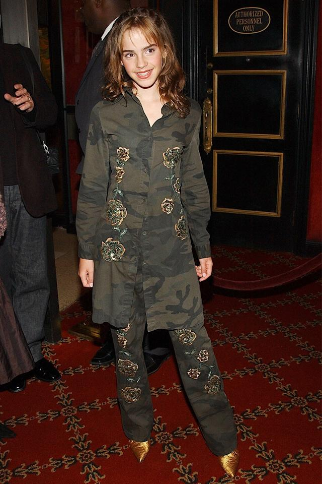 <p>She bravely wore an embroidered camouflage pantsuit to the New York premiere of <em>Harry Potter and the Chamber of Secrets</em>.</p>