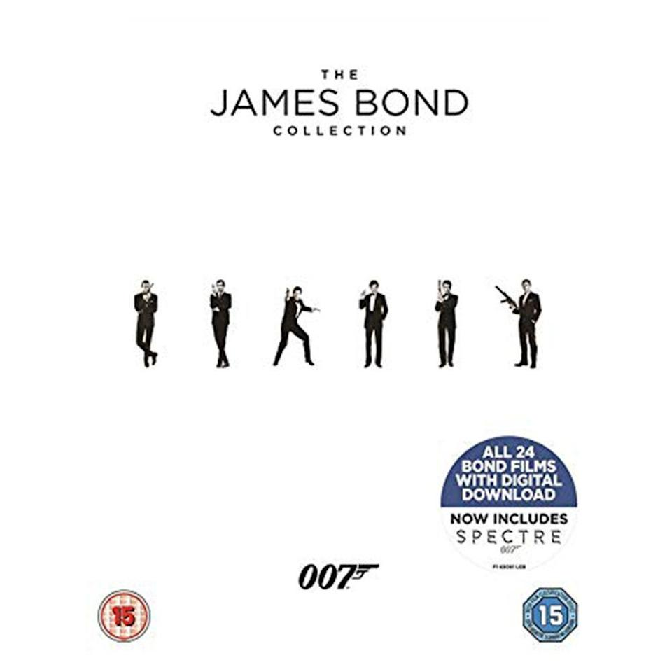 """<p><a class=""""link rapid-noclick-resp"""" href=""""https://www.amazon.co.uk/James-Bond-Collection-1-24-DVD/dp/B074T1TW5T/ref=pd_sbs_74_1/262-8076762-6376426?_encoding=UTF8&pd_rd_i=B074T1TW5T&pd_rd_r=0ff5f22b-39d3-11e9-b68f-91757d51307b&pd_rd_w=6YKIF&pd_rd_wg=u9LNP&pf_rd_p=18edf98b-139a-41ee-bb40-d725dd59d1d3&pf_rd_r=3EWX0F3RBZVSZ5AZ6D7T&psc=1&refRID=3EWX0F3RBZVSZ5AZ6D7T"""" rel=""""nofollow noopener"""" target=""""_blank"""" data-ylk=""""slk:SHOP"""">SHOP</a></p><p>Don't worry, Alan: blu-ray discs are relatively safe from Sunny D sabotage. Nothing will stand in the way of you and a full 24 film binge of every Bond film ever made (bar Never Say Never, Sean Connery's unofficial entry into the franchise.) The monochrome case looks almost as impressive as the HD-quality restoration, and all 24 films are available for digital download.</p><p><a href=""""https://www.amazon.co.uk/James-Bond-Collection-1-24-DVD/dp/B074T1TW5T/ref=pd_sbs_74_1/262-8076762-6376426?_encoding=UTF8&pd_rd_i=B074T1TW5T&pd_rd_r=0ff5f22b-39d3-11e9-b68f-91757d51307b&pd_rd_w=6YKIF&pd_rd_wg=u9LNP&pf_rd_p=18edf98b-139a-41ee-bb40-d725dd59d1d3&pf_rd_r=3EWX0F3RBZVSZ5AZ6D7T&psc=1&refRID=3EWX0F3RBZVSZ5AZ6D7T"""" rel=""""nofollow noopener"""" target=""""_blank"""" data-ylk=""""slk:Amazon.co.uk"""" class=""""link rapid-noclick-resp"""">Amazon.co.uk</a>, £39.99</p>"""