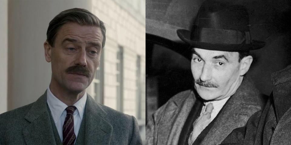 """<p>Legendary British actor Pip Torrens plays Alan """"Tommy"""" Lascelles, who <a href=""""https://www.chu.cam.ac.uk/news/2018/jul/4/keys-tommy-lascelles/"""" rel=""""nofollow noopener"""" target=""""_blank"""" data-ylk=""""slk:served"""" class=""""link rapid-noclick-resp"""">served</a> as secretary to the governor general of Canada before working for three different monarchs—George V, Edward VIII, and George VI—in the '30s and '40s. Between King George VI's death and Michael Adeane's promotion, Lascelles worked as Queen Elizabeth's private secretary for the better part of a year.</p>"""