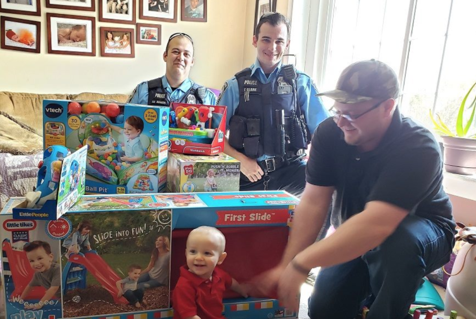 Prince William County Police Department officers brought birthday boy Wyatt a few gifts after his were stolen from his mother's vehicle. (Photo: Facebook)