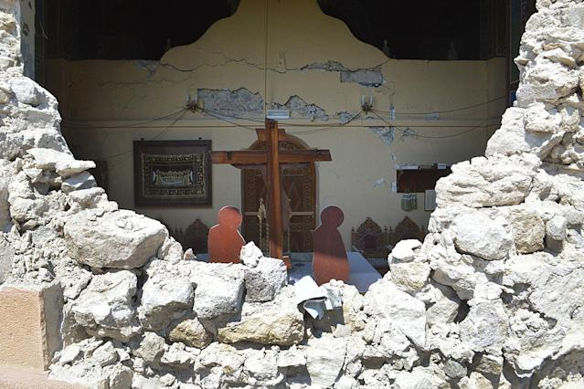 <p>A damaged church is seen is seen following an earthquake on the island of Kos, Greece, July 21, 2017. (Photo: Giannis Kiaris/EPA/REX/Shutterstock) </p>