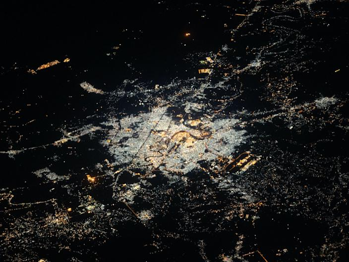 The International Space Station was orbiting 260 miles above northeastern Syria at the time this photograph of Baghdad, Iraq was taken.