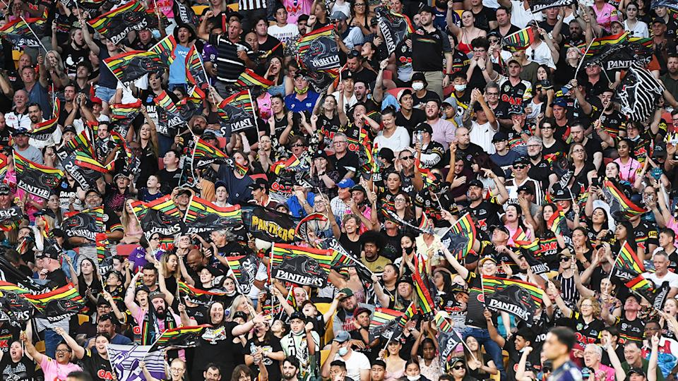 Panthers supporters, pictured here during the preliminary final against the Melbourne Storm at Suncorp Stadium.